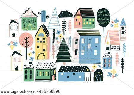 Various Small Tiny Houses And Trees. Flat Design.
