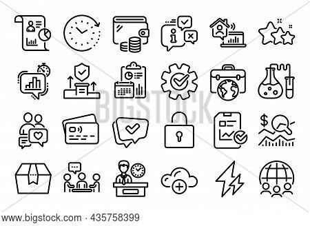 Vector Set Of Statistics Timer, Stars And Approved Line Icons Set. Calendar Report, Money Wallet And