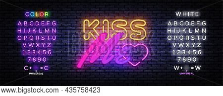 Kiss Me Neon Sign Vector. Kiss Me Design Template, Light Banner, Night Signboard, Nightly Bright Adv