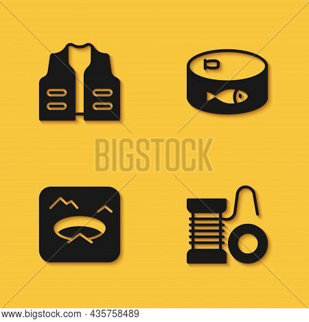 Set Fishing Jacket, Spinning Reel For Fishing, Winter And Canned Icon With Long Shadow. Vector