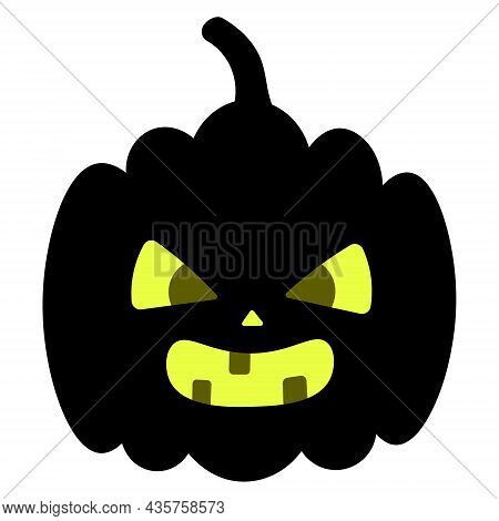 Pumpkin. Angry Facial Expression. Silhouette. Vector Illustration. An Ominous Grimace Shows Teeth. J