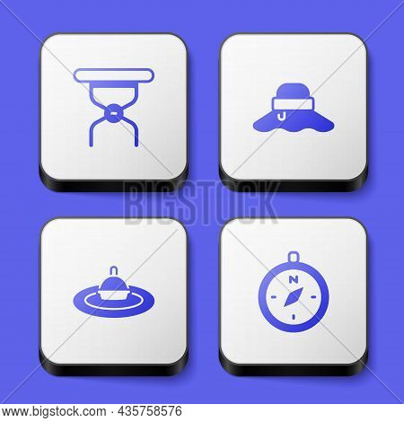 Set Camping Folding Chair, Fisherman Hat, Fishing Float Water And Compass Icon. White Square Button.