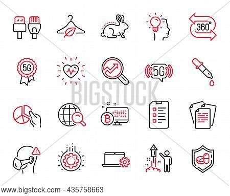 Vector Set Of Science Icons Related To Checklist, 5g Technology And Medical Tablet Icons. Chemistry