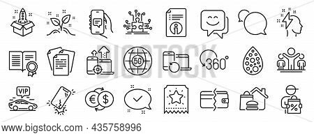 Set Of Business Icons, Such As Diploma, Food Delivery, Recovery Devices Icons. Loyalty Ticket, Start