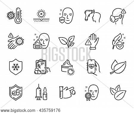 Vector Set Of Mint Leaves, Leaves And Face Cream Line Icons Set. No Sun, Sun Cream And Electronic Th
