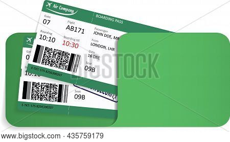 Illustration Of Two Airline Tickets Or Boarding Pass Inside Of Paper Envelope Or Folder.