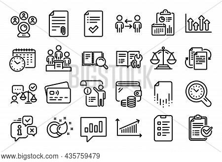 Vector Set Of Teamwork Business, Checklist And Justice Scales Line Icons Set. Calendar Report, Money