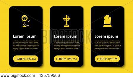 Set Tombstone With Rip Written, Cross And Owl Bird. Business Infographic Template. Vector