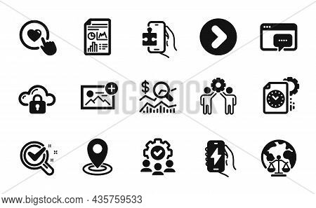 Vector Set Of Employees Teamwork, Magistrates Court And Check Investment Icons Simple Set. Report Do