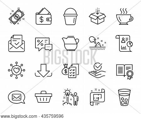 Vector Set Of Coffee, Architectural Plan And Skin Moisture Line Icons Set. Discounts, Approved Mail