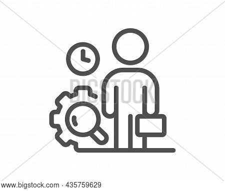 Inspect Line Icon. Quality Research Sign. Person Verification Symbol. Quality Design Element. Line S