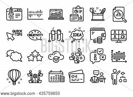 Vector Set Of Creativity, Algorithm And Messenger Line Icons Set. Calendar Report, Money Wallet And