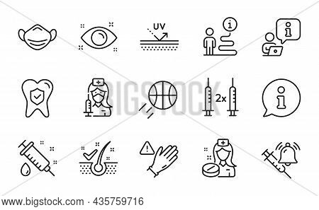 Healthcare Icons Set. Included Icon As Anti-dandruff Flakes, Health Eye, Medical Mask Signs. Basketb