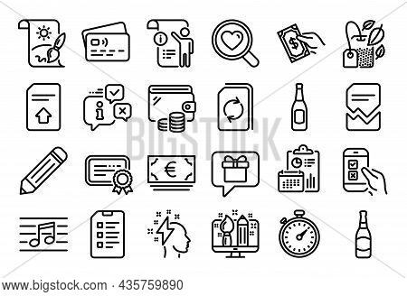 Vector Set Of Euro Currency, Pencil And Search Love Line Icons Set. Calendar Report, Money Wallet An
