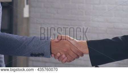 Close Up Hands Team Business Partners Shaking Hands Together To Greeting Start Up New Project. Shake