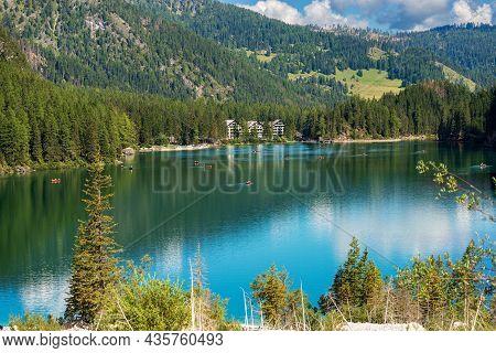 Pragser Wildsee Or Lago Di Braies. Small Beautiful Lake In Italian Alps, Dolomites, Unesco World Her