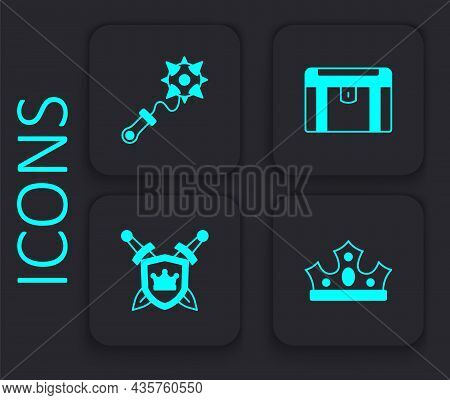 Set King Crown, Mace With Spikes, Antique Treasure Chest And Shield Swords Icon. Black Square Button