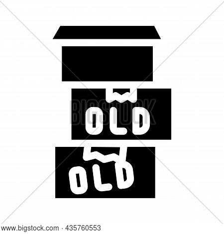 Old Things In Box Glyph Icon Vector. Old Things In Box Sign. Isolated Contour Symbol Black Illustrat