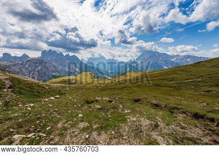 Mountain Range Of Cadini Di Misurina, Sorapiss And Monte Cristallo Seen From Tre Cime Di Lavaredo, S