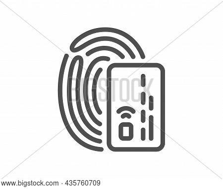 Credit Card Line Icon. Bank Money Payment Sign. Fingerprint Pay Symbol. Quality Design Element. Line