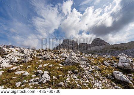 Mountain Range Of Paternkofel Or Monte Paterno, Natural Park Of Tre Cime Di Lavaredo Or Drei Zinnen,