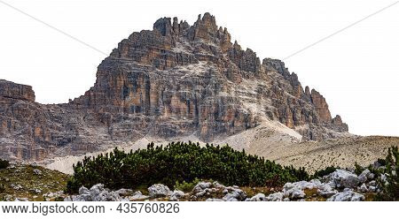 Mountain Peak Of Sesto Dolomites Isolated On White Background, Paternkofel Or Monte Paterno, Natural