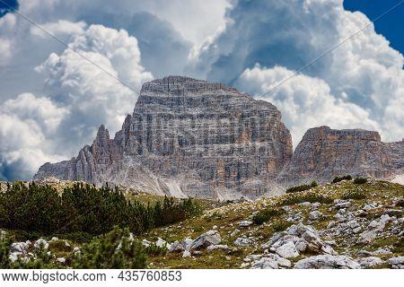 Mountain Peak Of Paternkofel Or Monte Paterno, Natural Park Of Tre Cime Di Lavaredo Or Drei Zinnen,