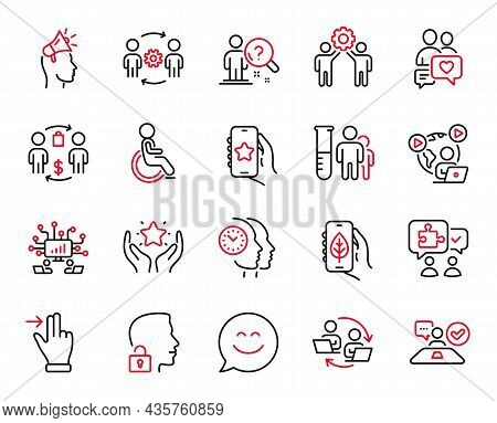 Vector Set Of People Icons Related To Employees Teamwork, Buying Process And Medical Analyzes Icons.