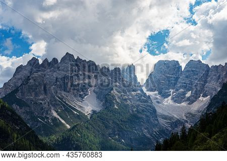 Mountain Peak Of Monte Cristallo (crystal Mountain), North Face 3221 M., Sesto Dolomites Near Cortin