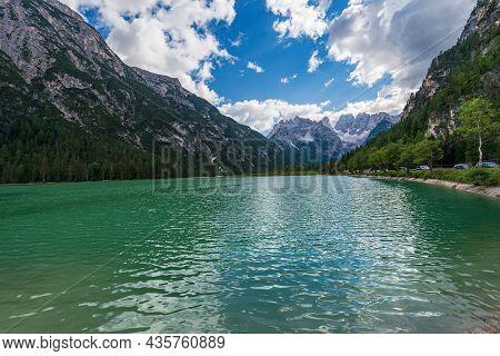 Lake Landro (lago Di Landro Or Durrensee) And Mountain Peak Of Monte Cristallo, North Face, 3221 M.,