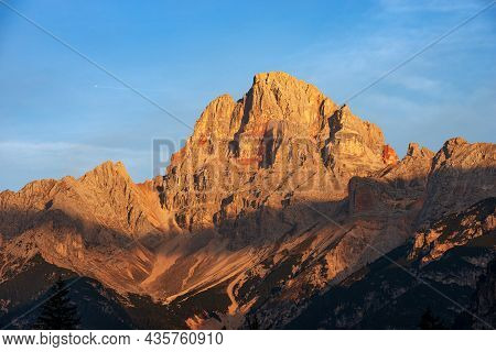 Mountain Peak Of Croda Rossa D'ampezzo Or Hohe Gaisl (3146 M.) At Sunrise, Dolomites, Unesco World H