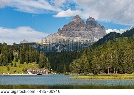 Lago Di Misurina (lake Misurina) And The Drei Zinnen Or Tre Cime Di Lavaredo (three Peaks Of Lavared