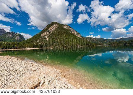 Lago Di Braies Or Pragser Wildsee, Small Alpine Beautiful Lake In Braies Valley, Dolomites, Unesco W