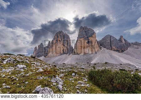 The Drei Zinnen Or Tre Cime Di Lavaredo (three Peaks Of Lavaredo), North Face, The Famous Mountain P