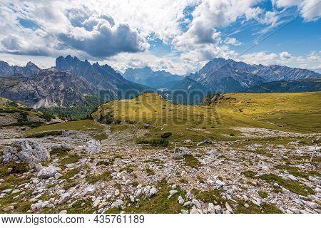 Italy, Mountain Range Of Cadini Di Misurina, Sorapiss And Monte Cristallo Seen From Tre Cime Di Lava