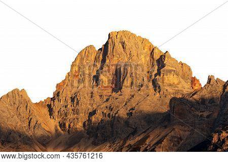 Beautiful Mountain Peak Of The Dolomites At Sunset, Isolated On White Background. Croda Rossa D'ampe