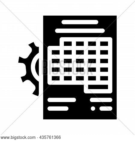 Accounting Working Process Erp Glyph Icon Vector. Accounting Working Process Erp Sign. Isolated Cont