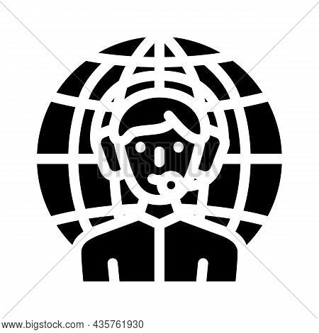Worldwide Support Glyph Icon Vector. Worldwide Support Sign. Isolated Contour Symbol Black Illustrat