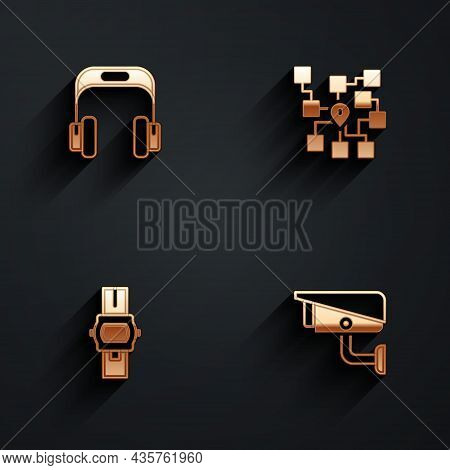 Set Headphones, Neural Network, Wrist Watch And Security Camera Icon With Long Shadow. Vector