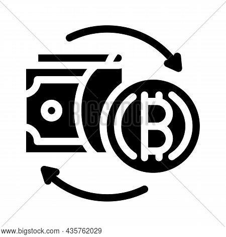 Money Exchange Cryptocurrency Globalization Glyph Icon Vector. Money Exchange Cryptocurrency Globali