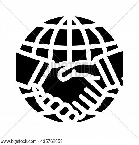 International Partnership Glyph Icon Vector. International Partnership Sign. Isolated Contour Symbol