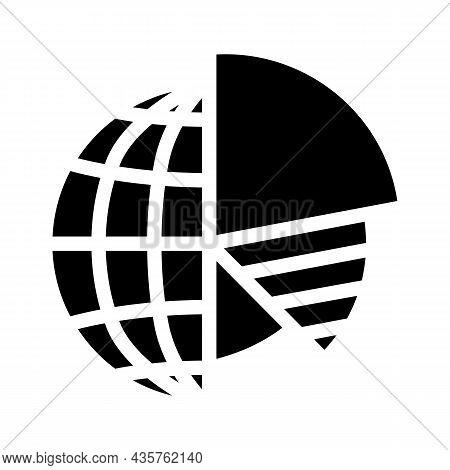 Analytics Globalization Glyph Icon Vector. Analytics Globalization Sign. Isolated Contour Symbol Bla