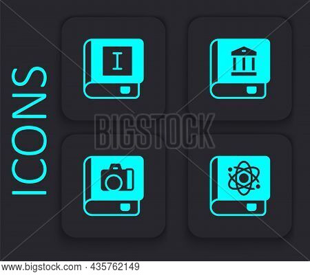Set Book About Physics, Law Book And Photo Album Gallery Icon. Black Square Button. Vector
