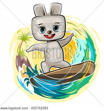 Fun Cute Hare Goes In For Sports On The Water. Surf Tube. Summer Vacation In Tropic Ocean. Adventure