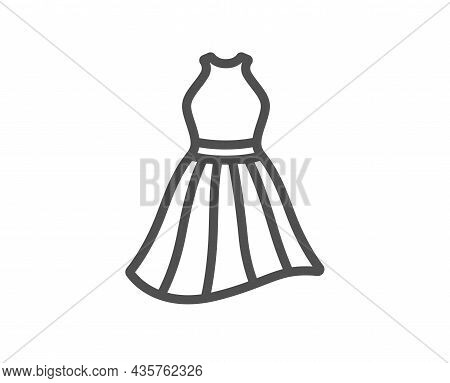 Dress Line Icon. Clothing Gown Sign. Women Fashion Outfit Symbol. Quality Design Element. Line Style