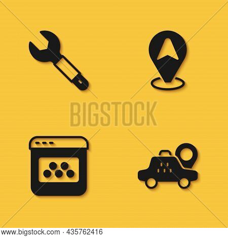 Set Wrench Spanner, Location Taxi Car, Taxi Mobile App And Icon With Long Shadow. Vector