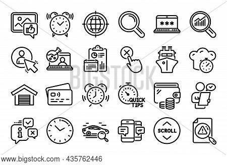 Vector Set Of Customer Survey, Laptop Password And Data Analysis Line Icons Set. Calendar Report, Mo