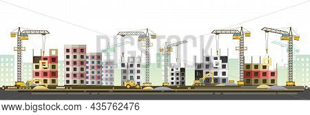 Construction Of New Microdistrict Of City. Cranes And Tractors. Modern Technologies And Equipment. H