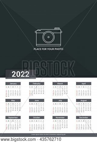 2022 Calendar Template, Week Starts On Sunday, A3 Size, Place For Your Photo, Vector Eps10 Illustrat
