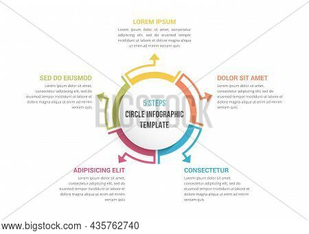 Circle Diagram Template With Five Elements, Infographic Template For Web, Business, Presentations, V